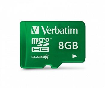 VERBATIM MICRO SDHC 8 GB CLASS 10 + SD ADAPTOR
