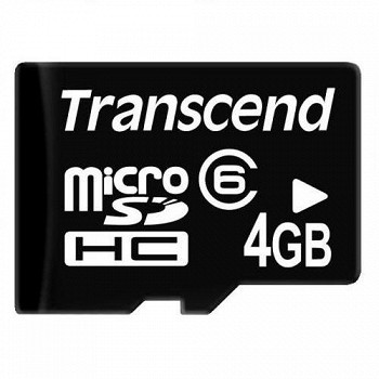 TRANSCEND MICROSDHC 4 GB CLASS 6 NO ADAPTER
